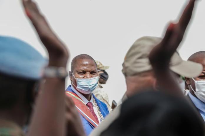 Le président centrafricain, Faustin-Archange Touadera, à Bangui, le 30mars 2021.