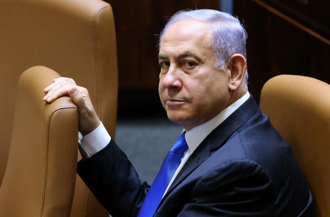 Benyamin Nétanyahou lors du vote pour le nouveau gouvernement à la Knesset, le Parlement israélien, le 13 juin 2021.