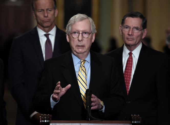 Le chef de la minorité (républicaine) au Sénat, Mitch McConnell, s'exprime à propos du projet de loi sur le vote, mardi 22juin, au Capitole, à Washington, DC.