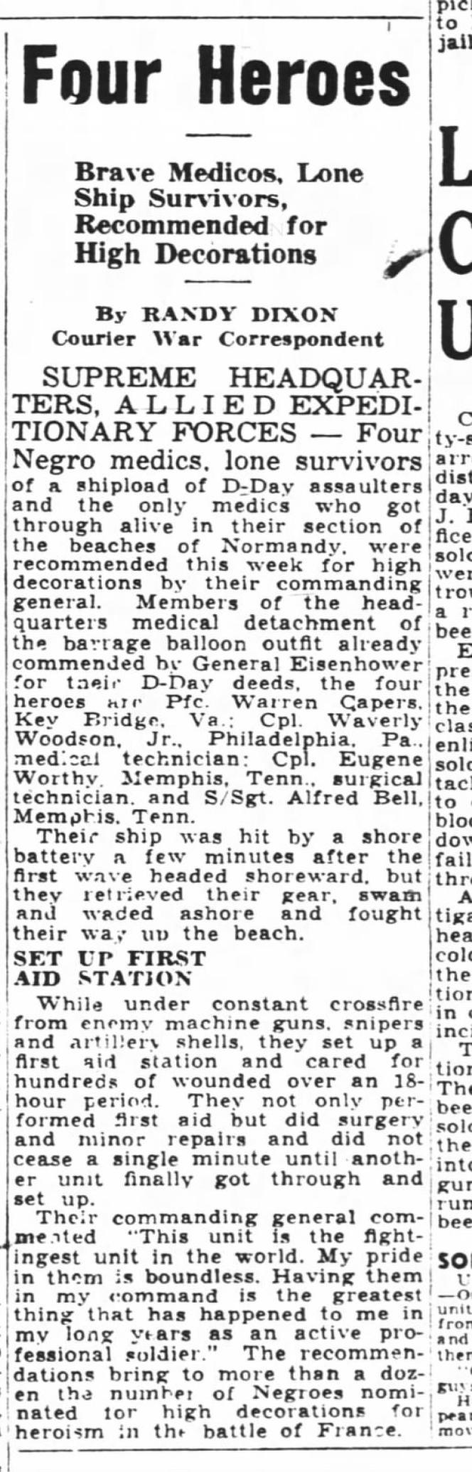 Un extrait du «Pittsburgh Courier» du 26 août 1944, racontant les exploits de quatre soldats noirs, dont Waverly Woodson.