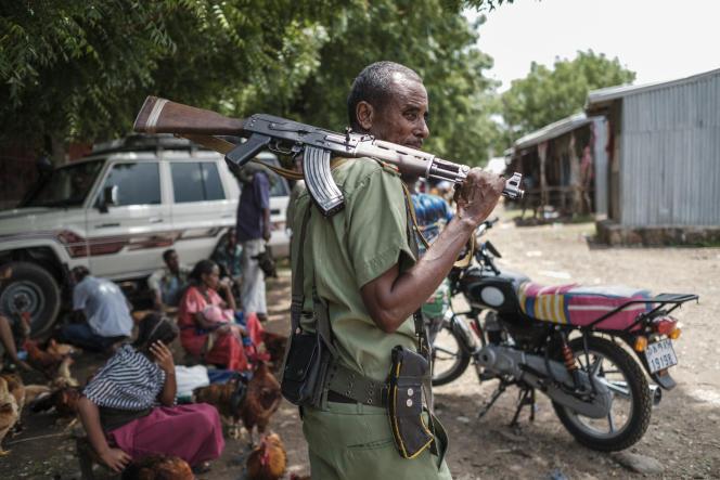 Un membre d'une milice amhara alliée aux forces fédérales, à Dansha, dans la province du Tigré, le 10 juillet 2021.