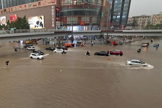 Dans la ville de Zhengzhou, dans la province du Henan (au centre de la Chine), le 20juillet2021.