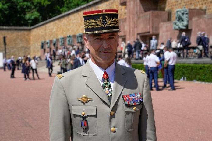 Le nouveau chef d'Etat-major des armées, Thierry Burkhard, le 18 juin 2021 à Suresnes (Hauts-de-Seine).
