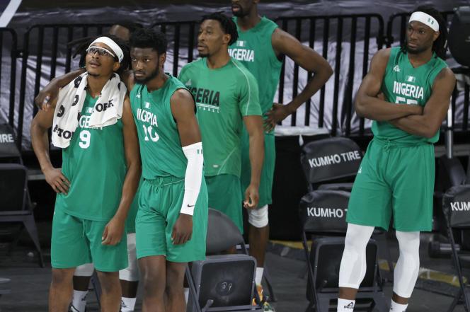 Des joueurs de l'équipe masculine de basket du Nigeria, le 10 juillet à Las Vegas.
