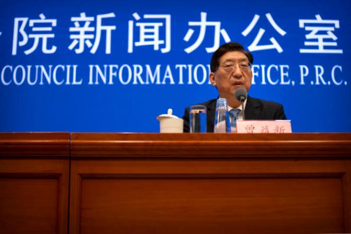 Le vice-ministre chinois de la santé, Zeng Yixin, s'est exprimé lors d'une conférence de presse à Pékin, le 22 juillet 2021.
