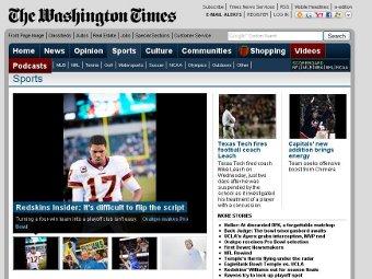 Скриншот спортивной рубрики The Washington Times