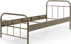 Bed 90x200 cm with taupe metal base Boston