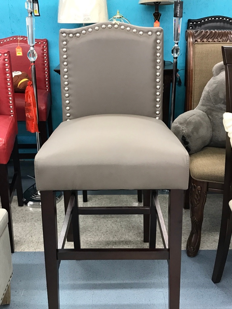 Grey Studded Accent Chair