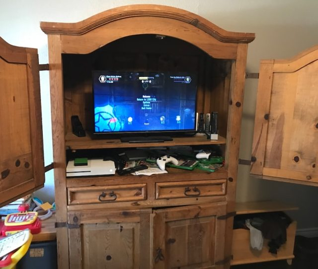 Used Rustic Tv Armoire Hutch For Sale In Garland