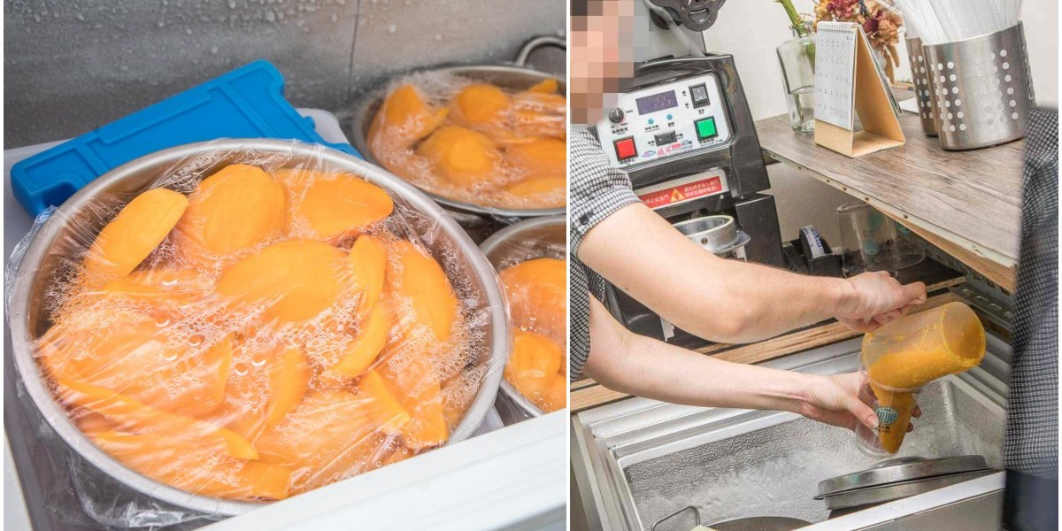 沒在客氣!整顆愛文芒果下去打的芒果冰沙,還有古早味透沁涼綠豆沙!双木林綠豆沙