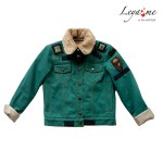 Утепленная детская джинсовая куртка зеленая на девочку