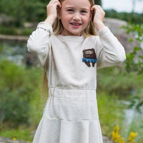 Платье детское бежево-молочное с воланом