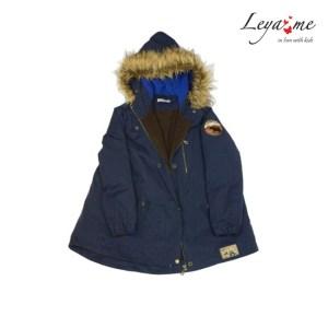 Куртка парка детская темно-синяя с мехом на девочку
