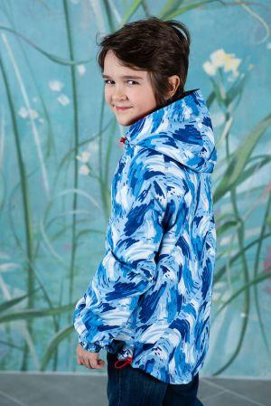 Голубая детская ветровка-анорак с принтом, на флисовой подкладке