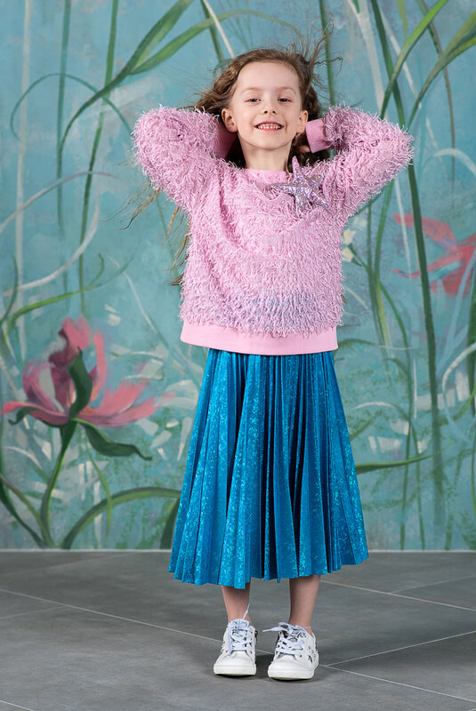 Бирюзовая детская юбка плиссе металлизированная