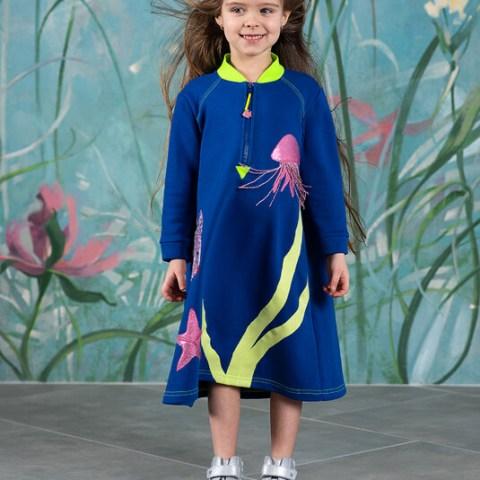 """Синее детское платье """"Подводный мир"""""""