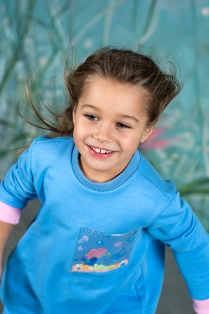 Голубой детский свитшот для девочки, с прозрачным карманом