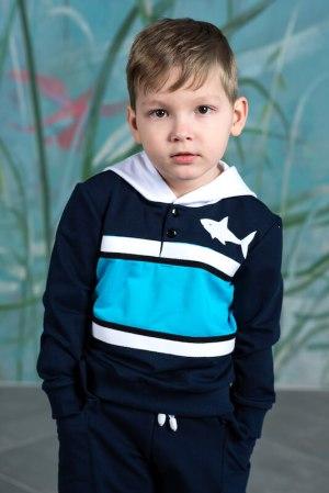 Толстовка с капюшоном  темно -синяя на мальчика