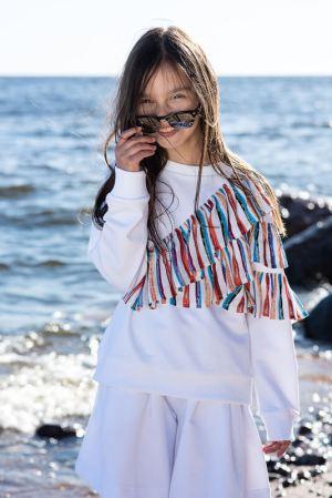 Белый детский свитшот для девочки, с яркими воланами