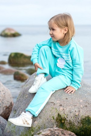 Бирюзовые детские трикотажные брюки для девочки, с лампасами
