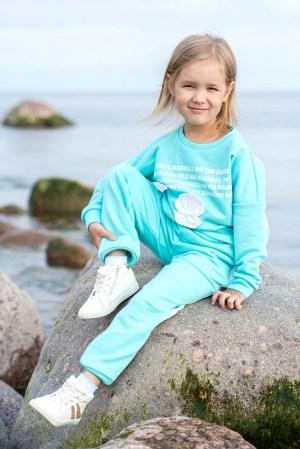 Бирюзовый детский свитшот для девочки, с принтом Sea shells