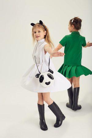 """Платье-поло с аппликацией """"панда"""" на девочку"""