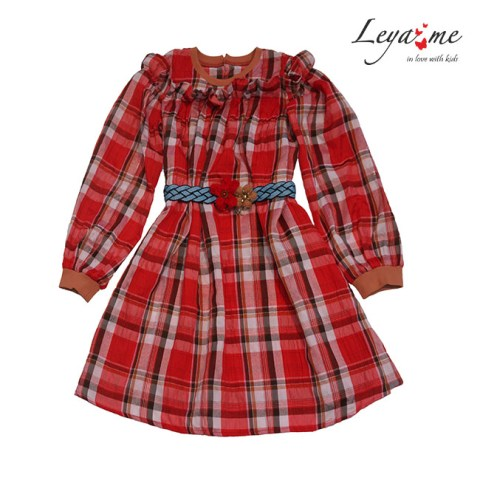 Платье в клетку для девочки красное