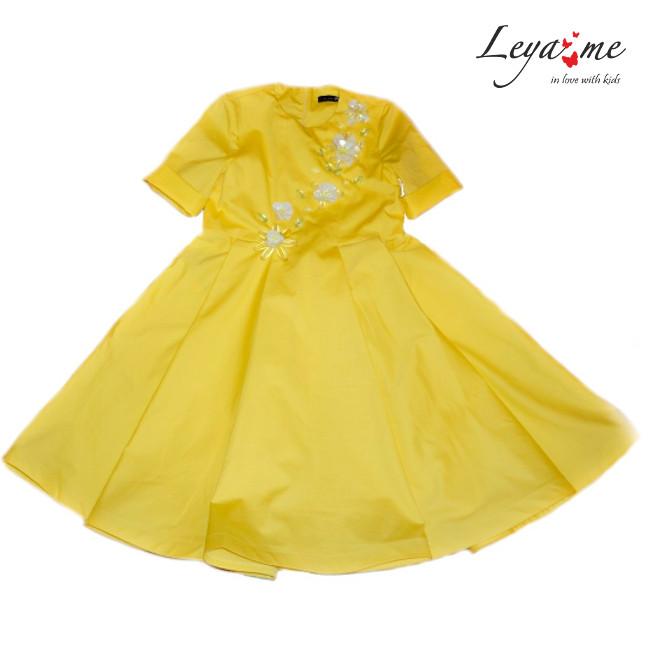 Платье-бабочка детское желтое с цветами