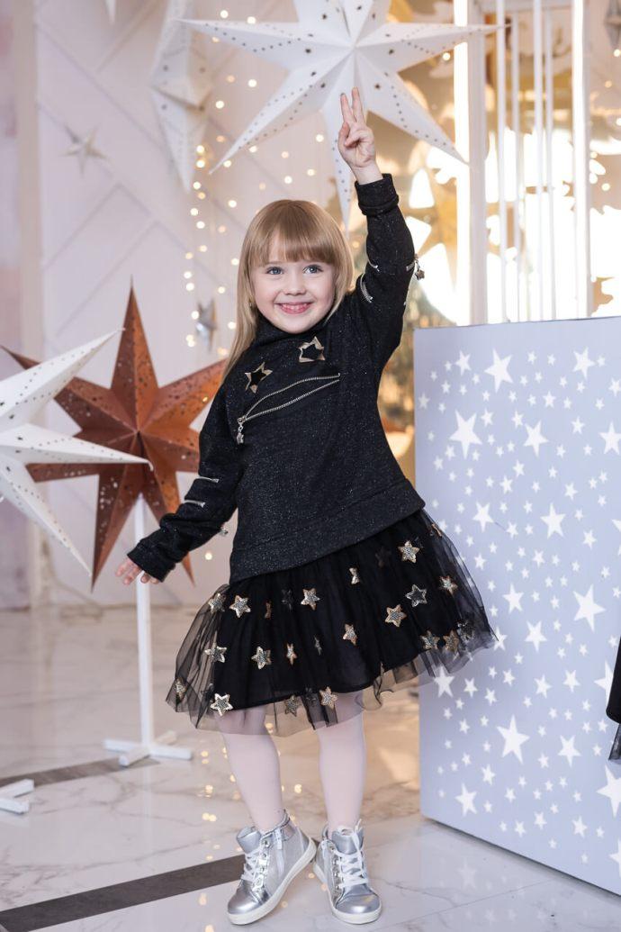 Платье черное детское праздничное с люрексом