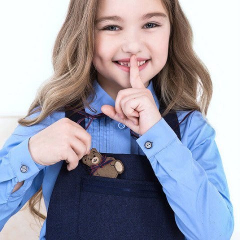 Блузка школьная голубая на девочку с защипами на лифе