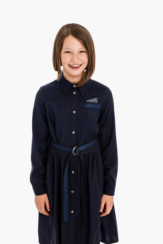 Синее школьное платье-рубашка