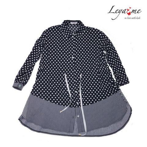 Рубашка-туника в горошек с полосатыми вставками и кулиской на девочку