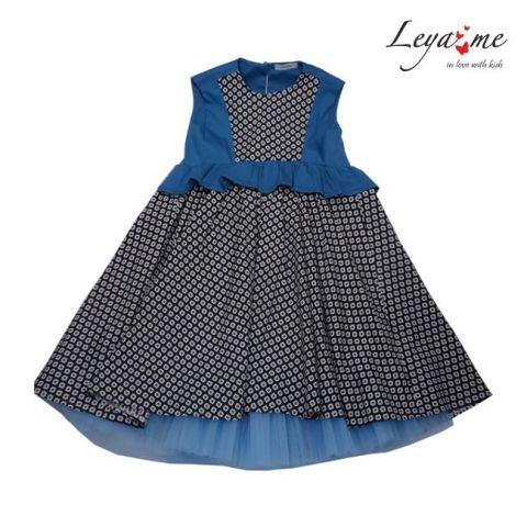 Платье комбинированное с бирюзовыми вставками с баской и подъюбником