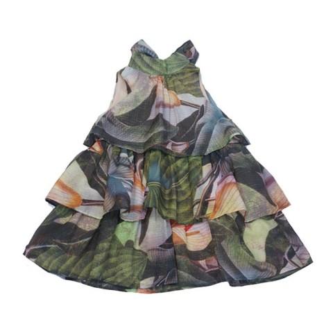 Платье - трапеция на девочку с оборками с крупными цветами
