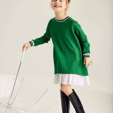 Зеленое платье детское с декоративной деталью на спине