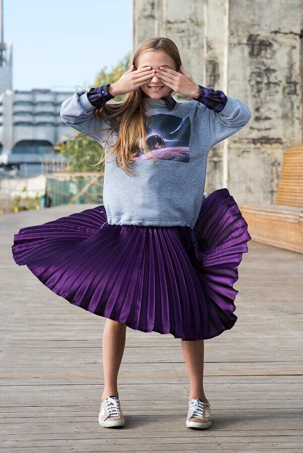 Юбка детская плиссе фиолетовая