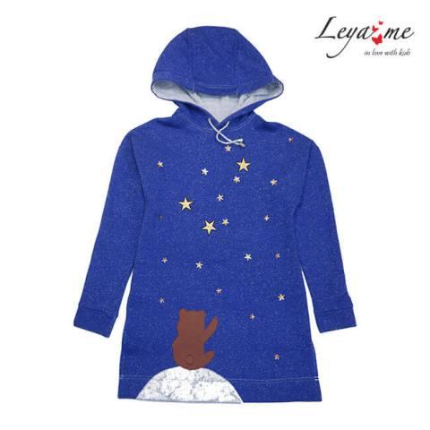 """Туника детская синяя с капюшоном и аппликацией """"Падающая звезда"""" на девочку"""