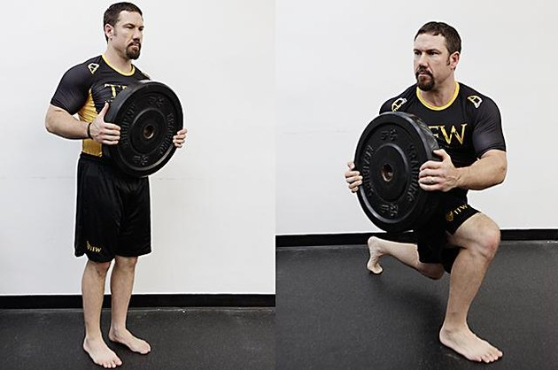 Man performing front lunge and twist.