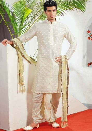 beige jacquard readymade kurta with dhoti of west bengal