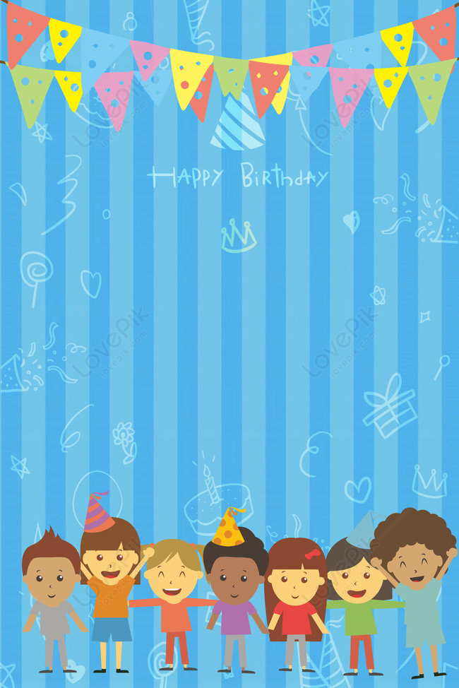 blue cartoon cute birthday party
