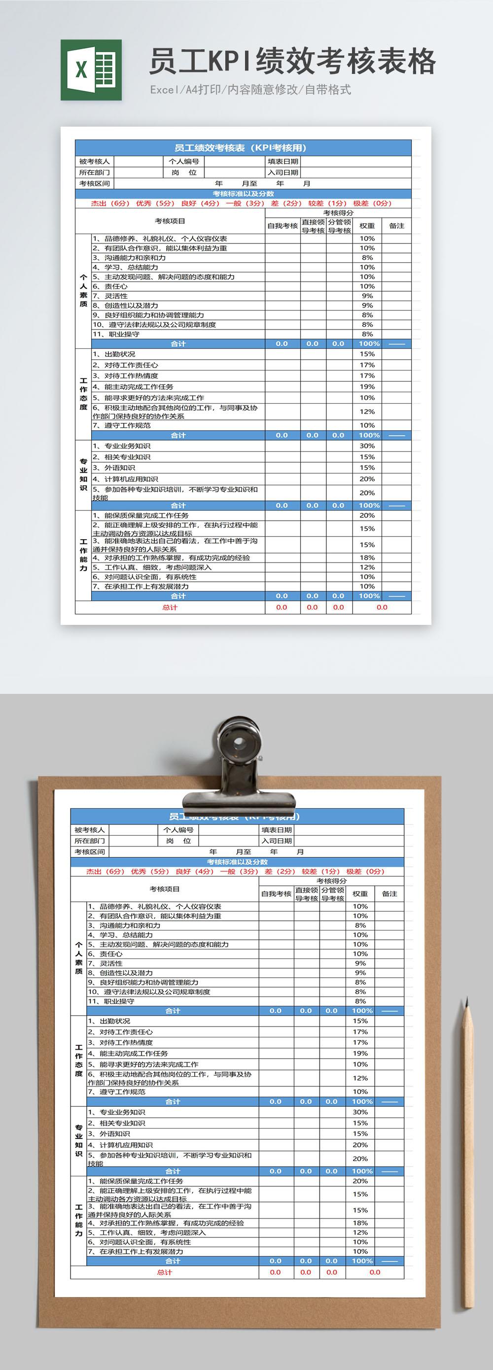 نموذج تقييم الاداء الوظيفي Excel