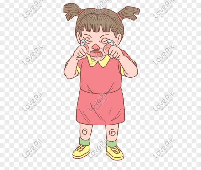 Halloween Little Girl Crying Cartoon Hand Drawn Png Image_picture