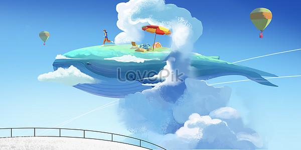 鯨魚幻想插畫圖片素材-PSD圖片尺寸3041 × 1500px-高清圖片400059091-zh.lovepik.com