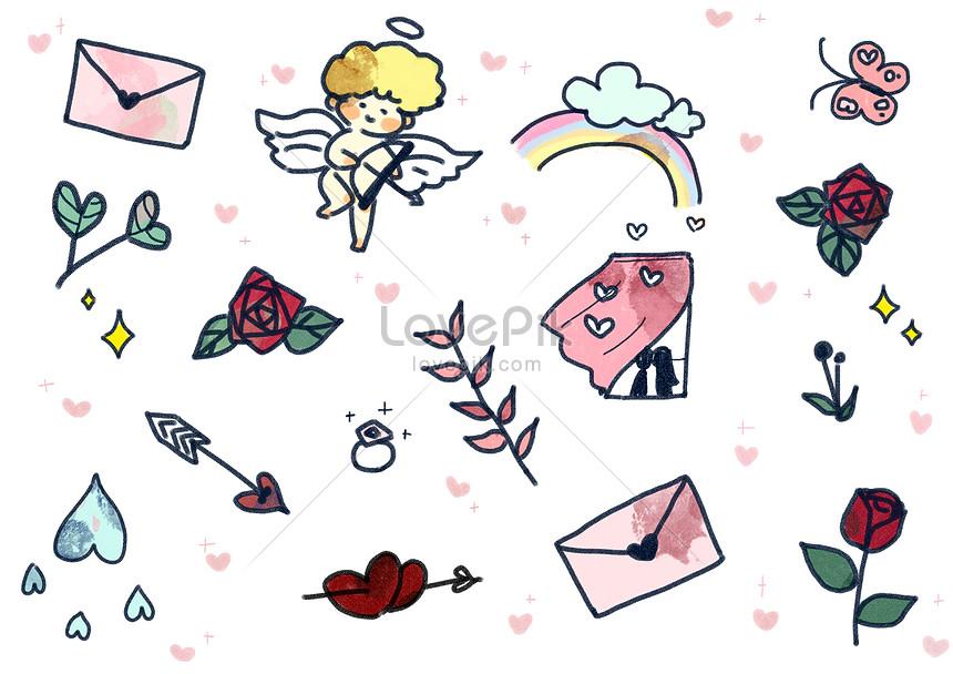 戀愛元素圖案素材圖片素材-PSD圖片尺寸3508 × 2480px-高清圖片400980221-zh.lovepik.com