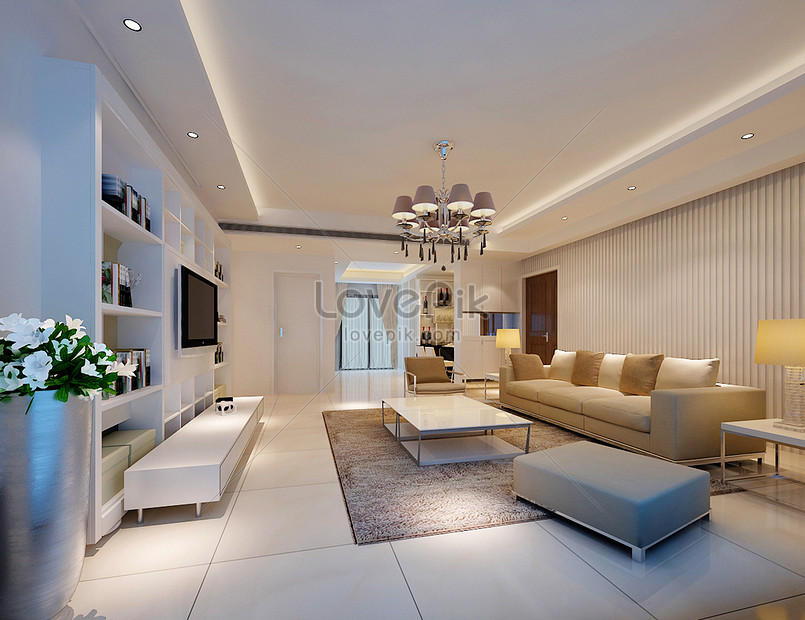 Modern simple living room background wall effect map photo ...