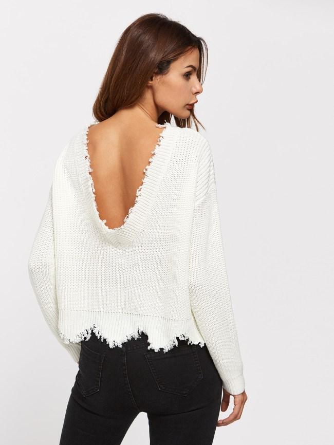 jersey espalda aire blanco punto deshilachado