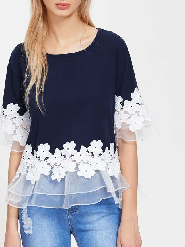 SheIn Lace Applique Layered Mesh Trim Tee
