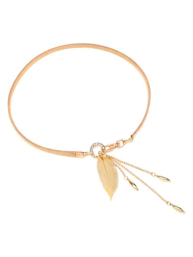 SheIn Metallic Waist Belt With Leaf Charm