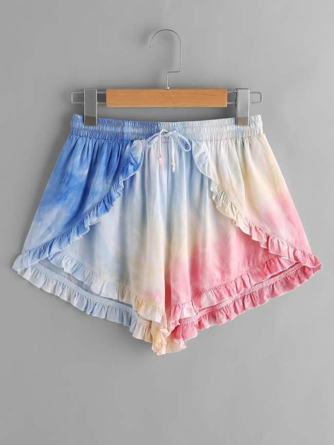 SheIn Frill Trim Pastel Tie Dye Wrap Shorts