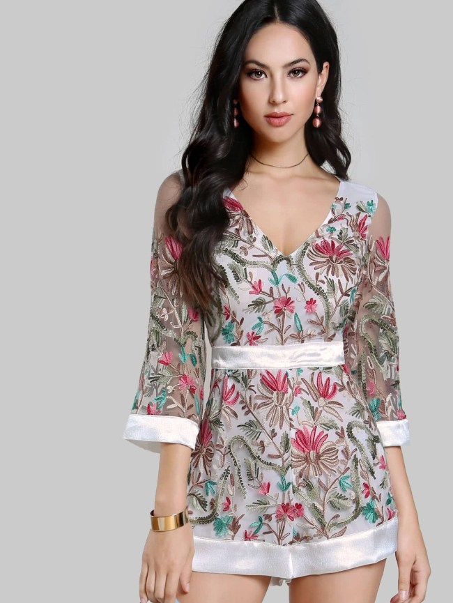 SheIn Floral Embroidered Sheer Romper OFF WHITE